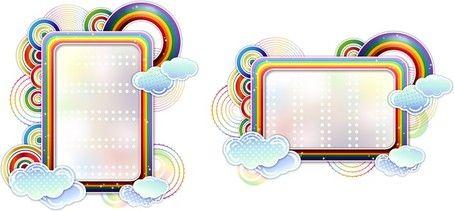 Ουράνιο τόξο σύννεφα χαριτωμένο διάνυσμα σύνορα