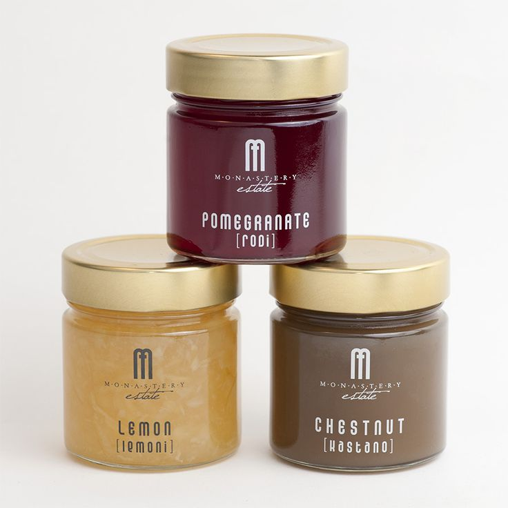 Delicious jam collection from Monastery Estate guesthouse, Crete. Lemon, pomegranate and chestnut. Ideal for breakfast, sweets and other recipes