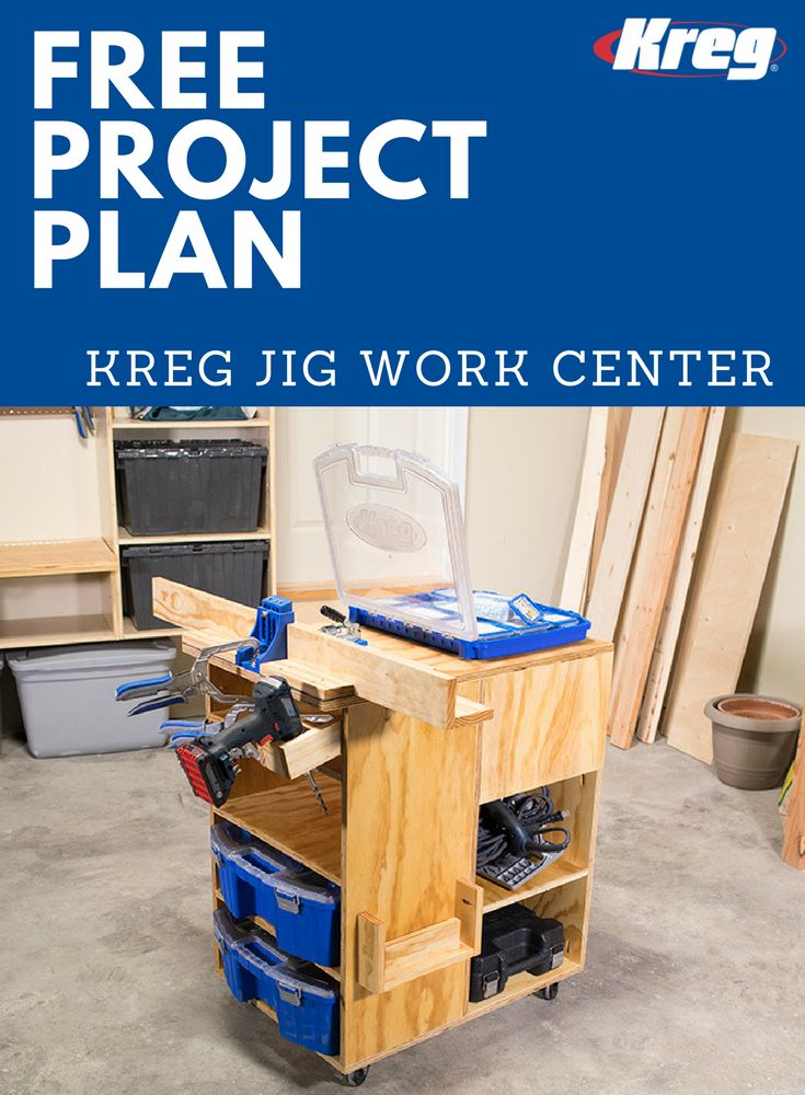 FREE Project Plan: Kreg Jig Work Center | Organize Your Pocket Hole Joinery  With This Rolling Work Center. It Holds A Kreg Jig® On Top, And Thereu0027s An  ...