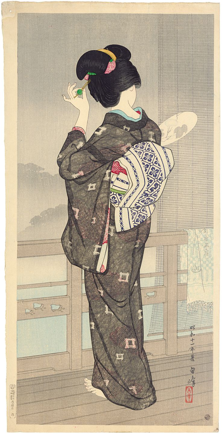 Zomer kimono/ Summer kimono Hirano Hakuhō (1879-1957) Kleurenhoutsnede op papier,1936 P0163  Japan: Modern. Elise Wessels Collection 24 June – 11 September 2016 https://www.rijksmuseum.nl/japan-modern