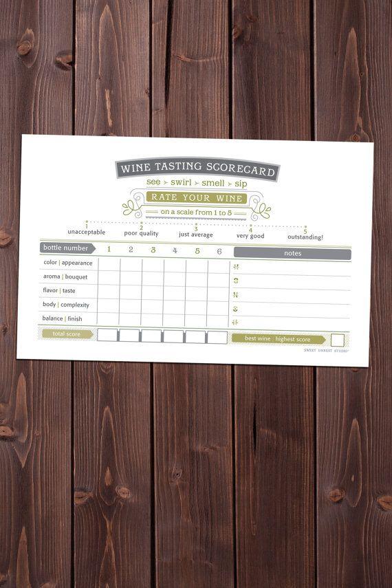 Great seller!  blind wine tasting  gaudi wine tasting scorecard, forest green PRINTABLE, $10.00