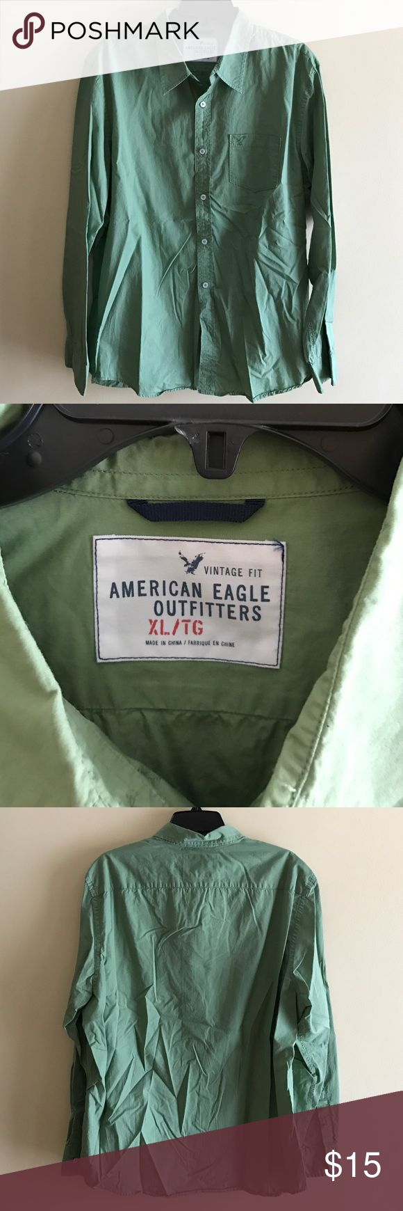 Men's size XL American Eagle dress shirt - Green Men's size XL American Eagle dress shirt - Green in color. Excellent condition. Smoke free home. American Eagle Outfitters Shirts Dress Shirts