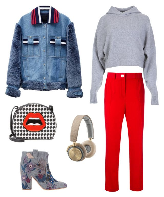 Image with red pants by evgeniia-lisianskaia on Polyvore featuring polyvore, мода, style, TIBI, Jamie Wei Huang, Salvatore Ferragamo, Laurence Dacade, Yazbukey, Bang & Olufsen, fashion and clothing
