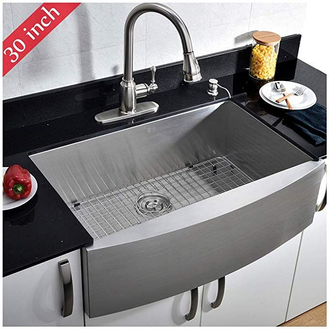 Vccucine Commercial Brushed 30 Inch Handmade Farmhouse Apron Sing Farmhouse Sink Kitchen Stainless Steel Farmhouse Kitchen Sinks Stainless Steel Farmhouse Sink