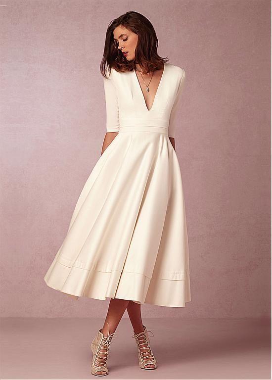Buy discount Fabulous Taffeta & Satin V-neck Neckline A-line Wedding Dresses  at Magbridal.com