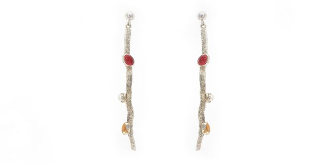 Order it here http://goo.gl/dDTFOP Twig E – Handmade silver earrings Material: Silver 925, Tourmaline, Rainbow Moonstone Dimension:Length: 5.0 cm Weight:3.0 gram Price:$ 39.00 In Stock : 2 pairs
