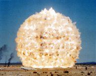 The MINOR SCALE Event was a high-explosive test simulating the air-blast effects of an 8-KT nuclear weapon. MINOR SCALE was a high explosive (HE) test sponsored by the Defense Nuclear Agency. It was detonated at 1220 hours on 27 June 1985 on the White Sands Missile Range, NM. The explosive charge consisted of 4744 tons of ammonium nitrate fuel oil (ANFO) poured in bulk into a 44-foot (13.4-m) radius fiberglass hemisphere. Click on link for factual details of blast.