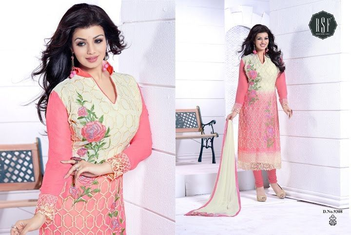 Beige And Pink Georgette Embroidered Semi Stitched Salwar Suit - Salwar Suits - Ethnic - Women