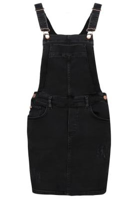 River Island Dongeriskjørt - washed black - Zalando.no