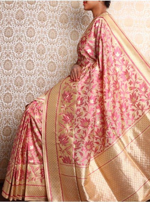 Beige Brocade Saree with all over resham lotus motif
