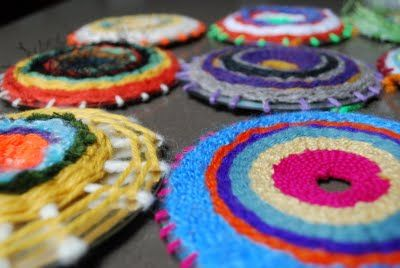 Weaving with CDs - lots of dead disks around to do this