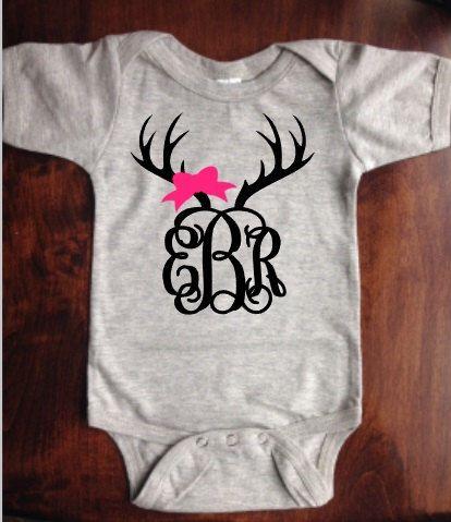 Deer Antler Monogram SHORT or LONG Sleeve Onesie Girl Antler With Bow Antler Monogram Baby Shower Gift Baby Monogram Country Girl Onesie by SSCBOWTIQUE on Etsy https://www.etsy.com/listing/253061312/deer-antler-monogram-short-or-long