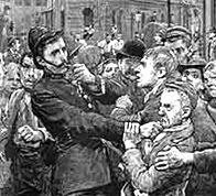 illustration showing police work in London's East End - Victorian-era crime & punishment.
