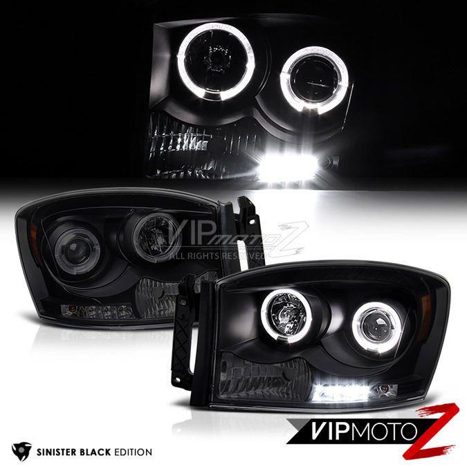 #Dodge #Ram #1500 #2500 #3500 #SINISTERBLACK #LED #Halo #Projector #Headlights #VIPMOTOZ