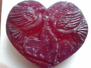 Heart with doves glycerine soap