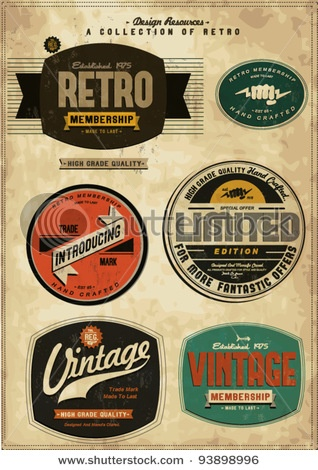 Retro label style collection set  Image ID: 93898996
