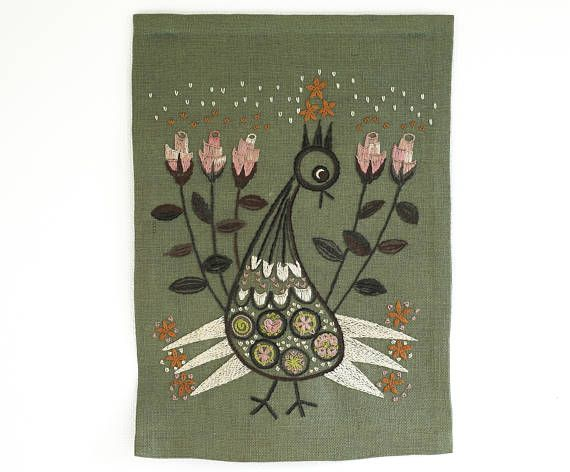 Vintage Hand Embroidered Wall Hanging Scandinavian Tapestry