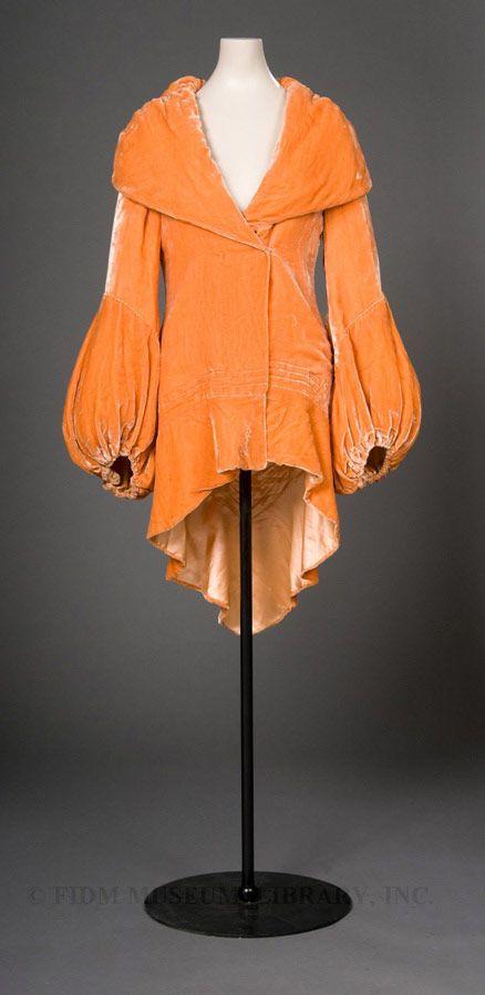 Coat 1930, Made of silk: Orange Flower, Museums, Color, 1930 1932, Evening Gowns, 1930 S, Orange Velvet, Women Coats, 1930S Velvet Jackets