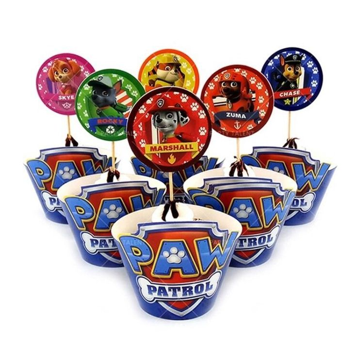 24 Pcs Paw Patrol Party Cupcake Wrappers And Toppers Set of 12 #Unbranded #BirthdayChild