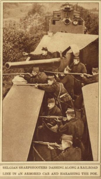"""WWI; """"Belgian Sharpshooters Dashing Along A Railroad Line in an Armored Car and Harassing the Foe"""" -War of the Nations, 1919, www.loc.gov"""