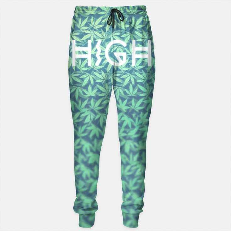 HIGH! Typo Design Weed - Dope Leaf Pattern Sweatpants, Live Heroes
