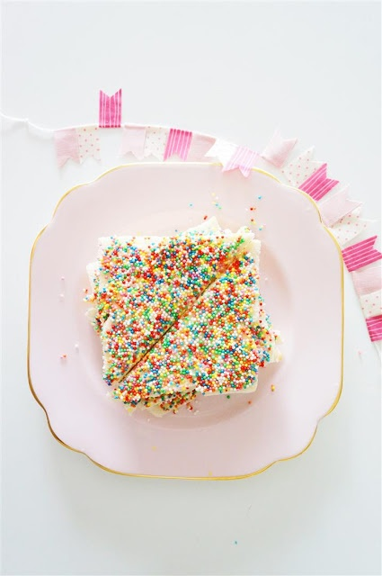 This Australian food is called fairy bread, it's great for party's ( I have it at all of mine!) to make this food all you need is bread, butter, and of course sprinkles!!! Just get some bread spread some butter on top out lots of sprinkles on and wala! YUMMY