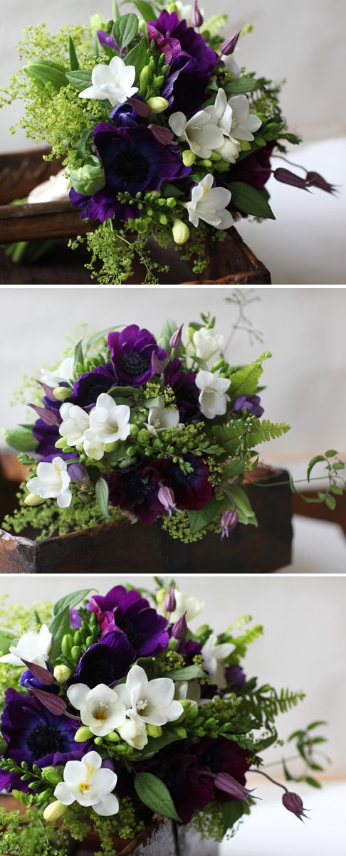 Gorgeous bouquet of purple anemones, white freesia, green lady's mantle...<3