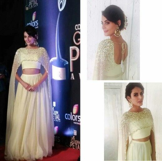 Mandana Karimi wearing white cape top with skirt by Neha Chopra at Colors Gold Petal Awards 2016