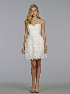 Aライン/プリンセス恋人袖なしのショート、ミニレースウエディングドレス