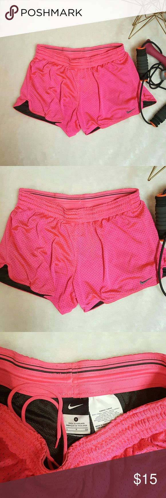 Hot Pink Nike Running Jogging Shorts Size Small Cute hot pink Nike shorts with drawstring. Size: small Color: hot pink with black lining  Gently used. Great condition!  Offers always welcomed! Nike Shorts