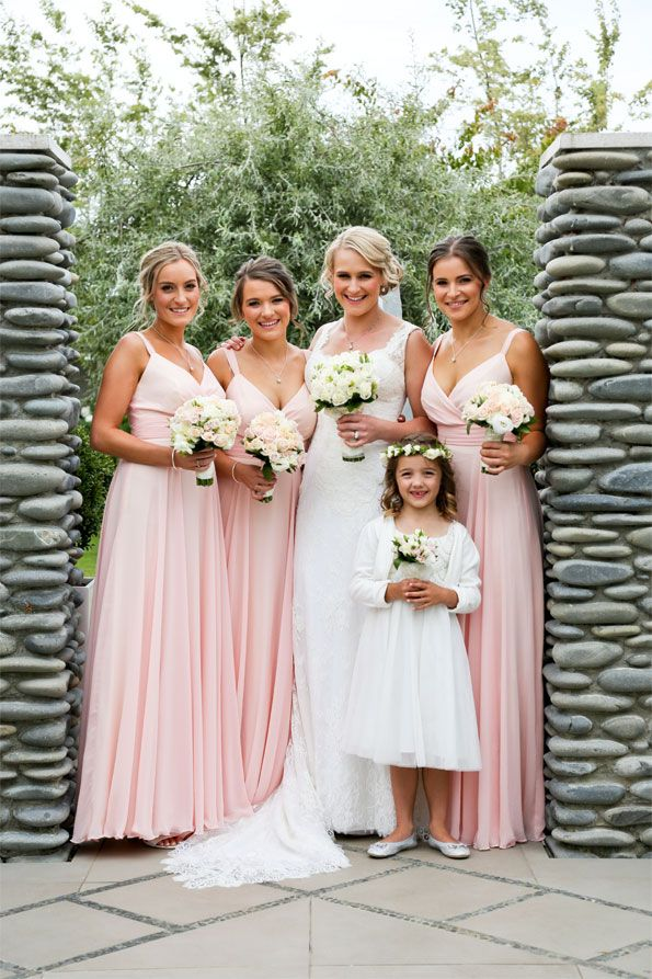 All Black Owen Franks' wedding. Bridesmaid's are in ViCTOR Bridesmaid style EMMA in full length ballet pink chiffon. Featured in New Zealand Woman's Weekly magazine
