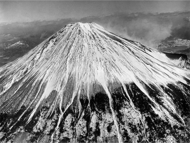 """""""Mount Fuji"""" Silver gelatin print 1946 Mount Fuji is Japan's highest mountain. The nearly perfectly symmetrical volcano has been worshipped as a sacred mountain throughout Japanese history. Because it is a sacred mountain, it is a popular source of inspiration among artists and common people."""
