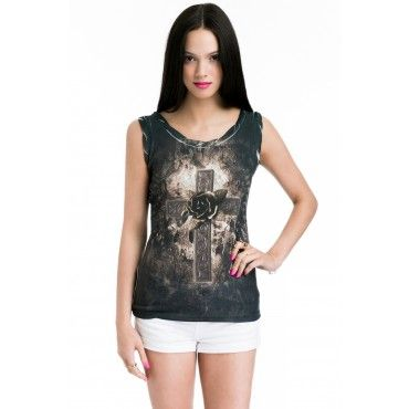 Ladies Vest Top with Flowers on the Cross Print - Tops & Tshirts - Shop by Category - Women's