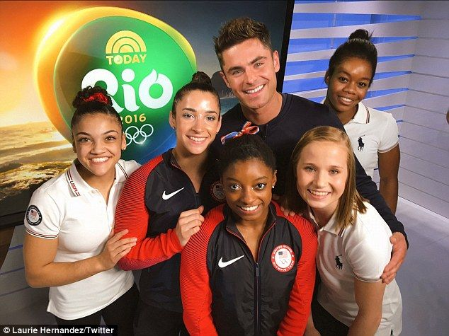 Zac Efron surprises Biles and gymnasts, Hernandez rushes in for a hug