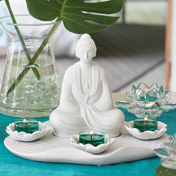 Teelichhalter Zen von PartyLite,  Porzellan. H. 18 cm. (Für Teelichter) Der Teelichthalter Buddha Zen entfacht Gefühle von Frieden und Harmonie. Schaffen Sie sich Ihre persönliche Ruhezone, in der Sie sich entspannen können.