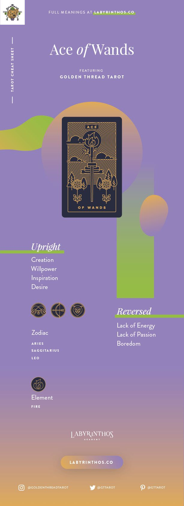 Ace of Wands Meaning - Tarot Card Meanings Cheat Sheet. Art from Golden Thread Tarot.