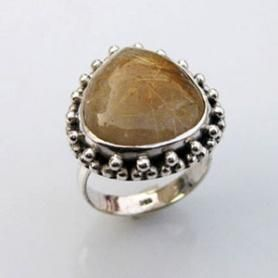 Rutile Quartz Gemstone Ring with 925 Sterling Silver