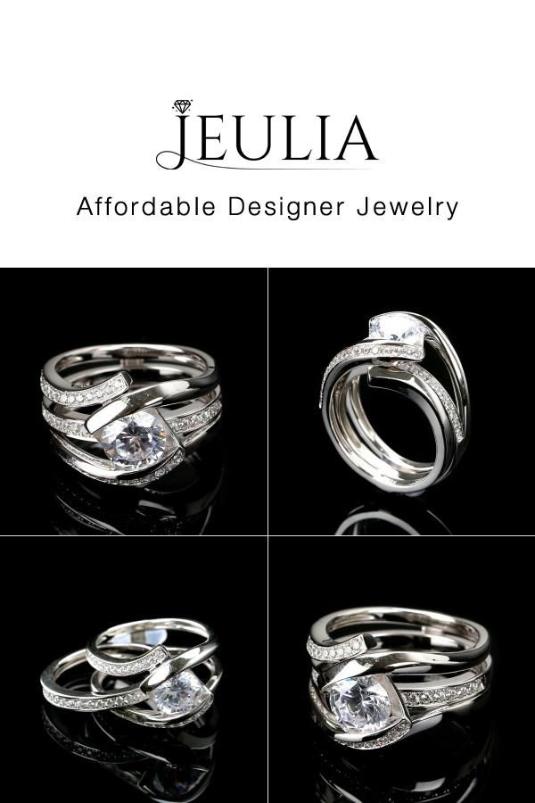 Jeulia Interchangeable Twist Bypass Round Cut Created White Sapphire Wedding Set - Jeulia Jewelry