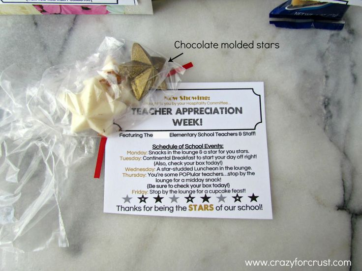 teacher appreciation week ideas | Then, throughout the week, the teachers (and staff too) will get some ...