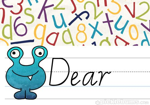 Free Printable Kids Letter Writing Set - send a monstrous note! :)