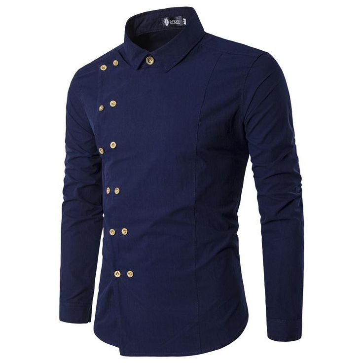 Men Shirt Personality Oblique Double Breasted Button Shirt Long Sleeve Casual Slim Fit