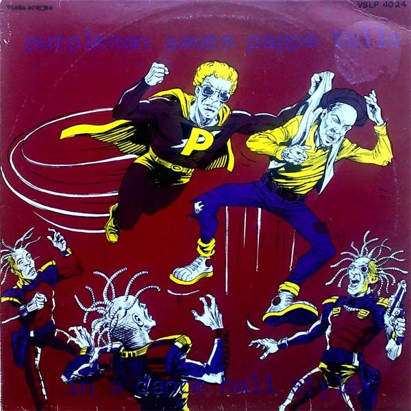 Classic cartoon album cover from Purpleman and Pappa Tullo from 1983 - http://reggaealbumcovers.com/2009/11/purpleman-saves-poppa-tullo/