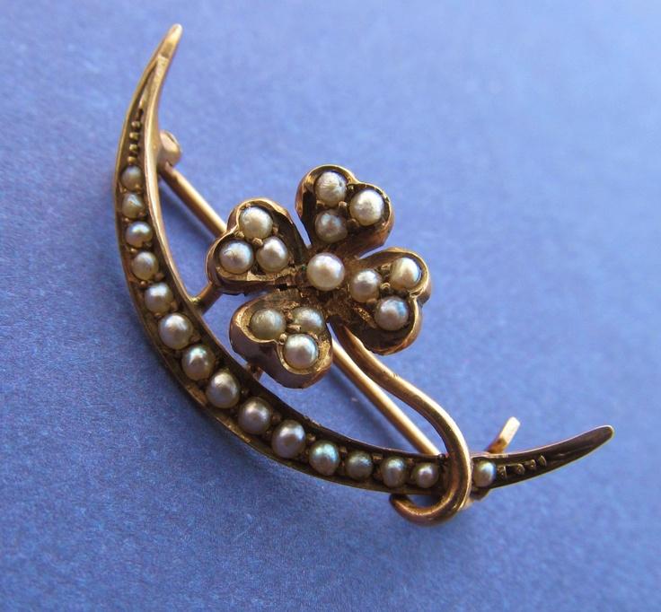 victorian 10 karat gold seed pearl pin moon antique flower brooch jewelry via