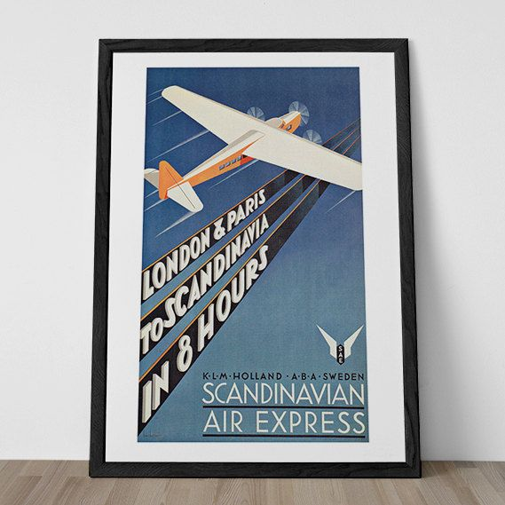 Vintage Art Deco Giclee Poster Print SCANDINAVIAN AIR EXPRESS  High Quality Frame-Ready Ikea Ribba Size