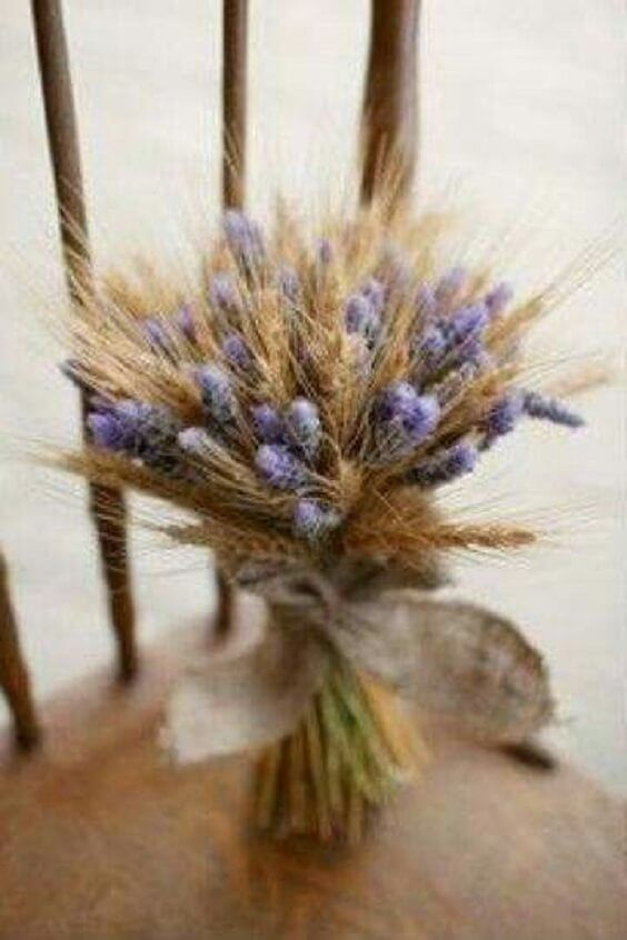 Rustic Wheat Fall Wedding, Lavender Bridesmaid Dresses, Wheat Bouquets and Corsages