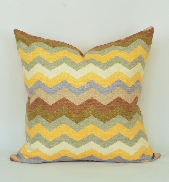 Panama Wave Pillow-Chevron- Zig Zag- Throw Pillow Cover- Multicolor-Blue, Yellow, Brown, Green, Gray, and Cream- 18x18inch- Designer Pillow