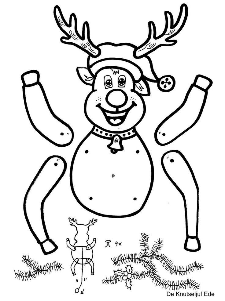kerst trekpop kleurplaten kerstman en rendier kerst