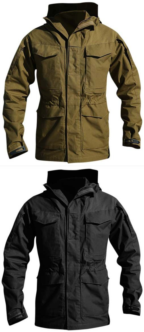jacket:Pockets Hooded Solid Color Outdoor Wind Proof Water Repellent Trench Coat for Men