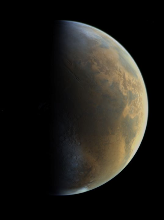 Viking 1 approaches Mars - Viking 1 captured several images of a global Mars as it approached for its orbit insertion in 1976. This view includes Valles Marineris at center and the Argyre basin in the south. Credit: NASA / JPL / color composite by Emily Lakdawalla