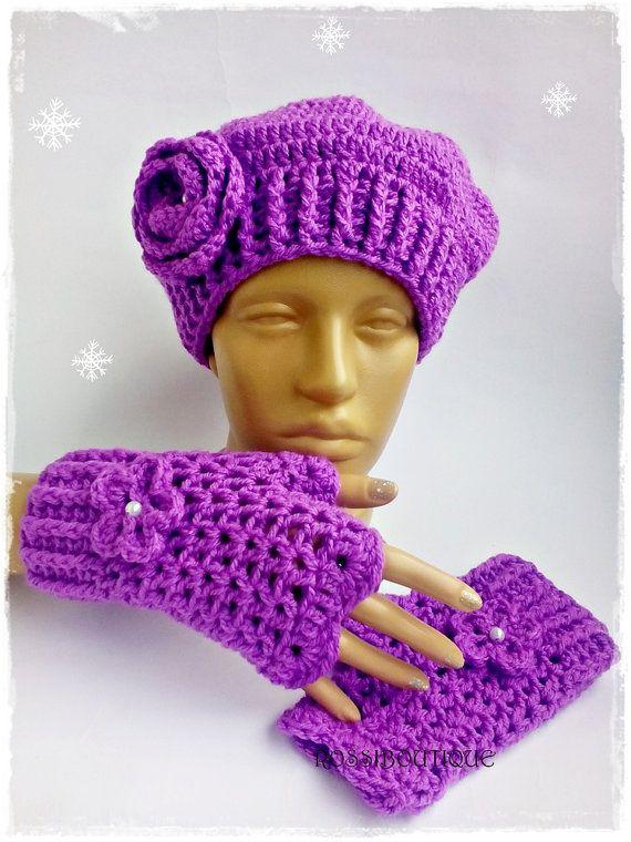 Crochet purple  hat, Crochet purple gloves, Crochet beret, Set for women, Purple hat, Crochet  hat, Fingerles gloves, Teen set, Hat, Glove